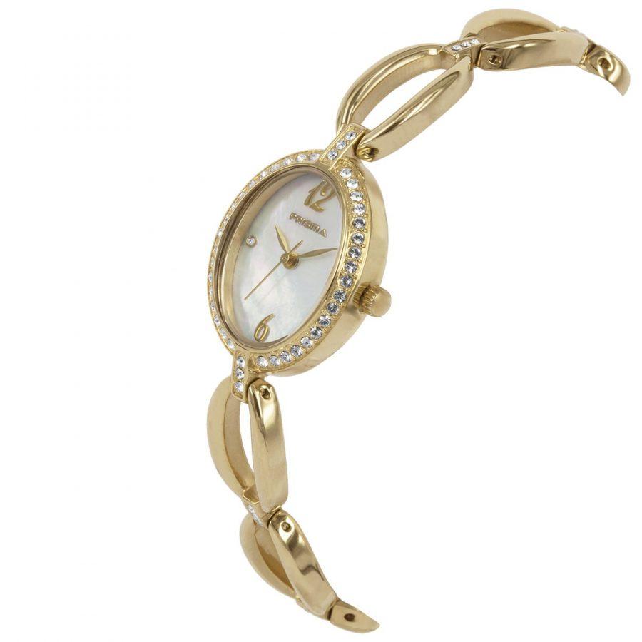 Prisma-P1532-dames-horloge-goud-edelstaal-schuin