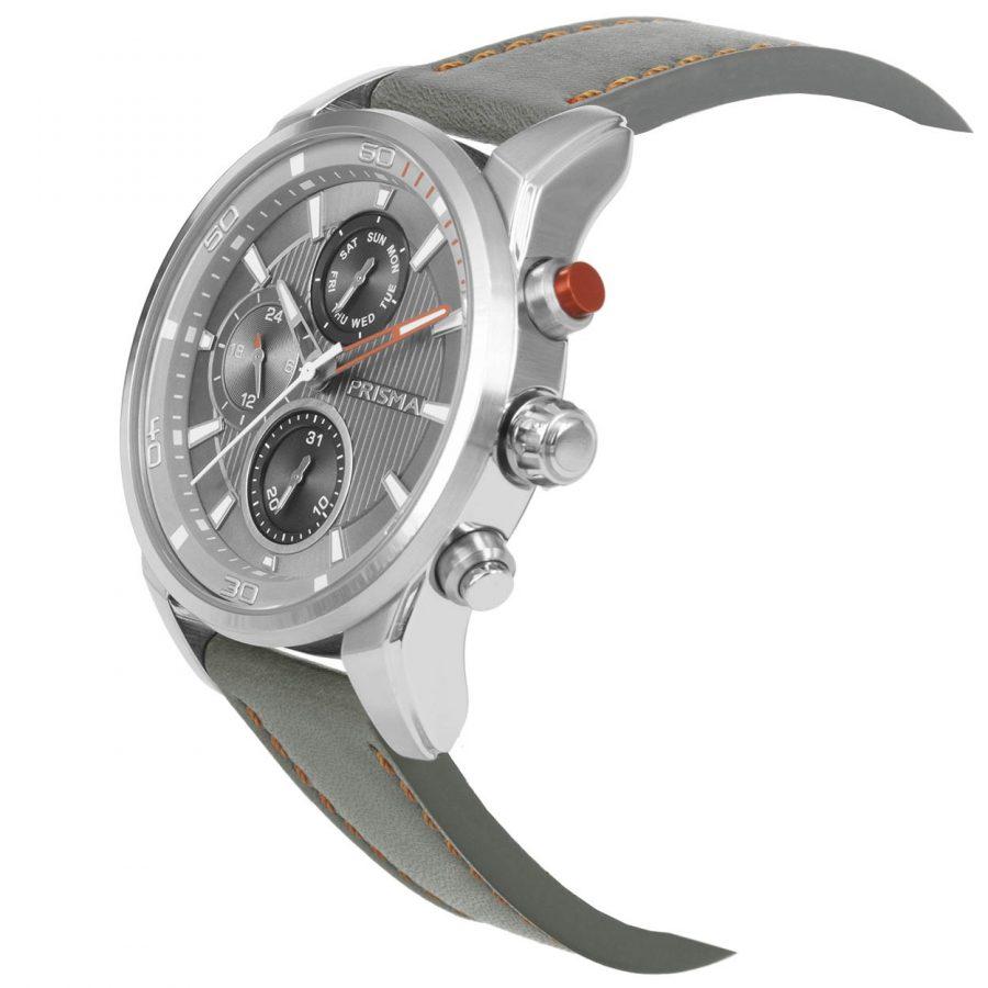 Prisma-P1591-heren-horloge-edelstaal-grijs-oranje-schuin