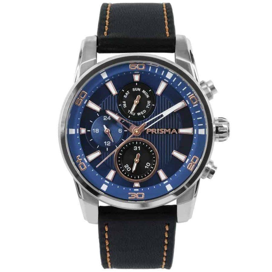 Prisma-P1592-heren-horloge-multi-functie-blauw-rosegoud