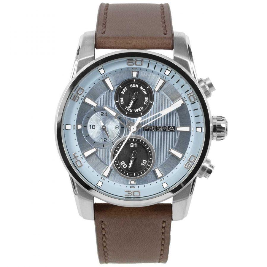 Prisma-P1593-heren-horloge-edelstaal-licht-blauw