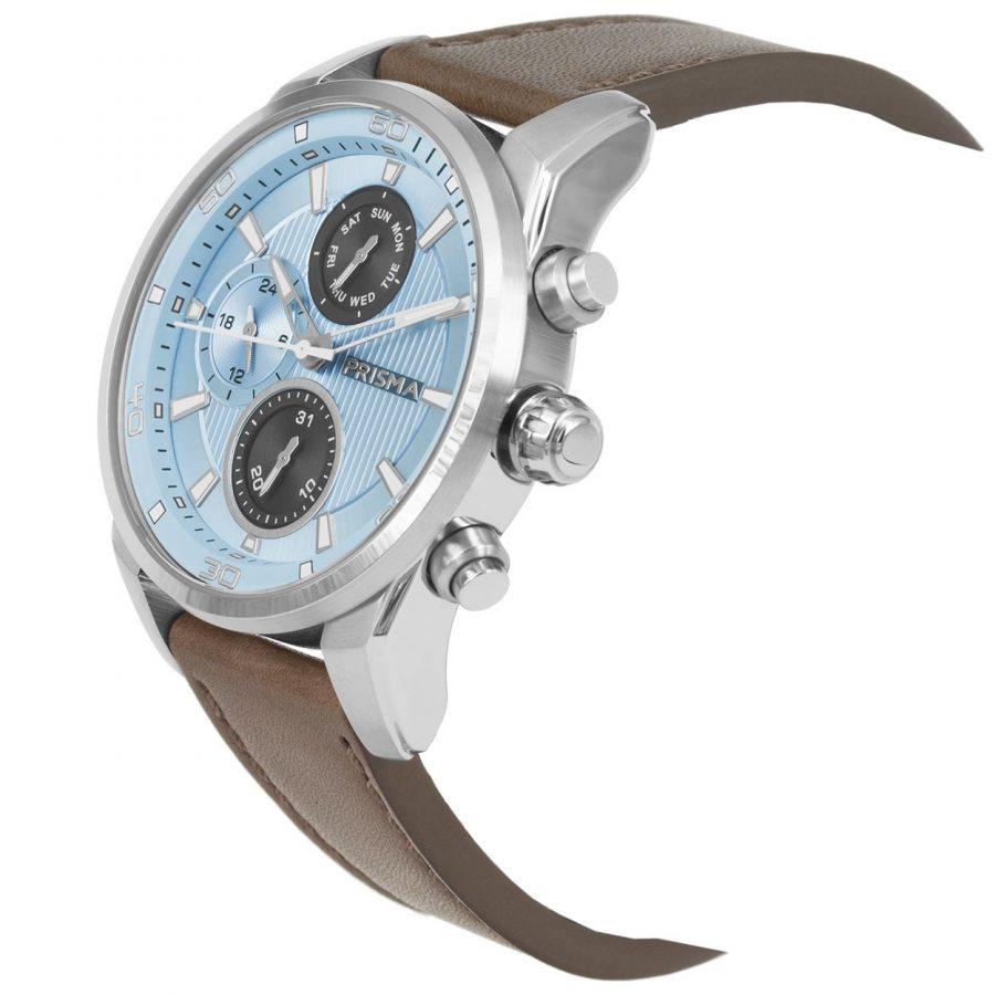 Prisma-P1593-heren-horloge-edelstaal-licht-blauw-schuin