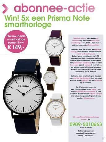Prisma Note horloges in Televizier