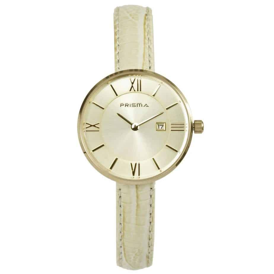 Prisma-P1535-dames-horloges-edelstaal-goud-beige-leder-l