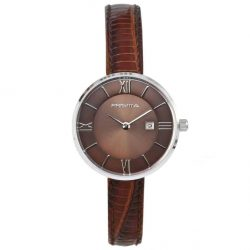 Prisma-P1537-dames-horloge-edelstaal-bruin-leder-l