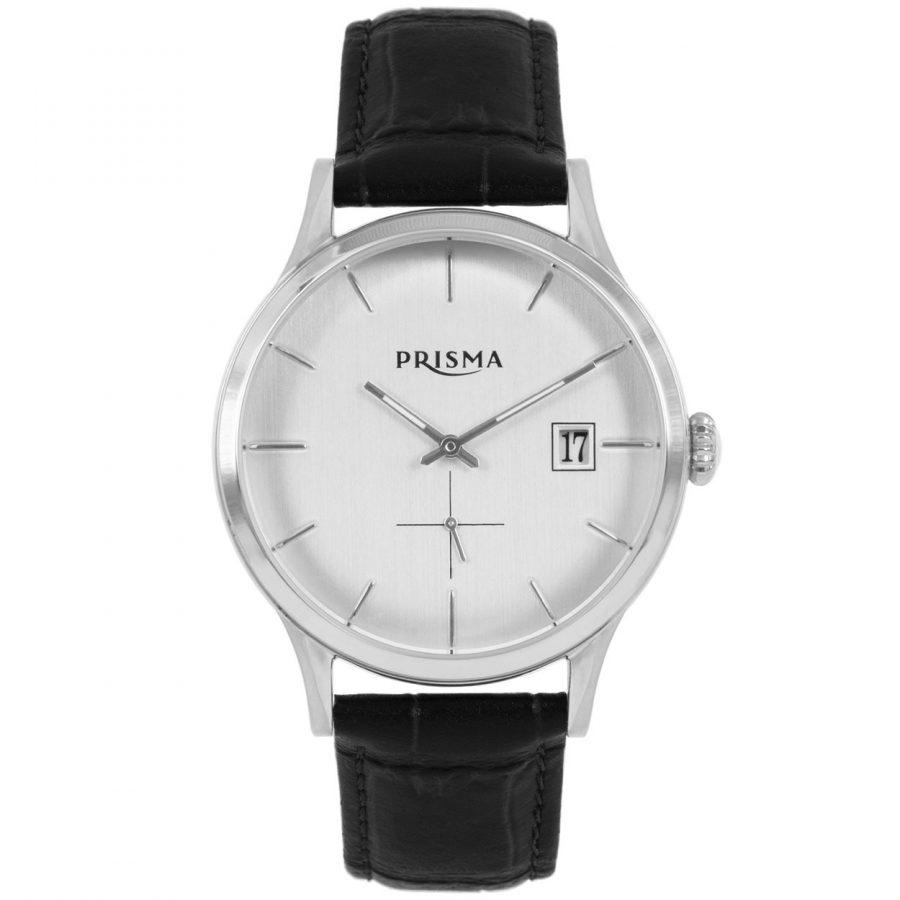 PRISMA-P2772-HORLOGES-HEREN-ZWART-LEER-STAAL-C621001-recht