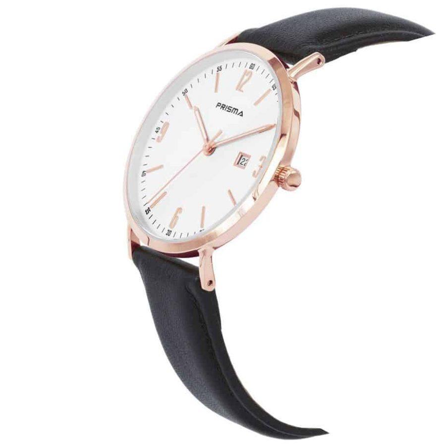 Prisma-P1500-heren-horloge-edelstaal-rosegoud-bruin-lederen-band-schuin