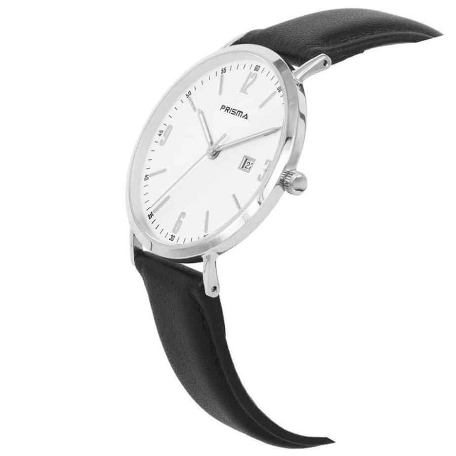 Prisma-P1501-heren-horloge-edelstaal-zilver-zwart-lederen-band-schuin