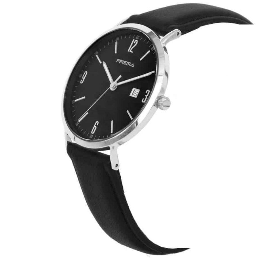 Prisma-P1502-heren-horloge-edelstaal-zilver-zwart-lederen-band-schuin