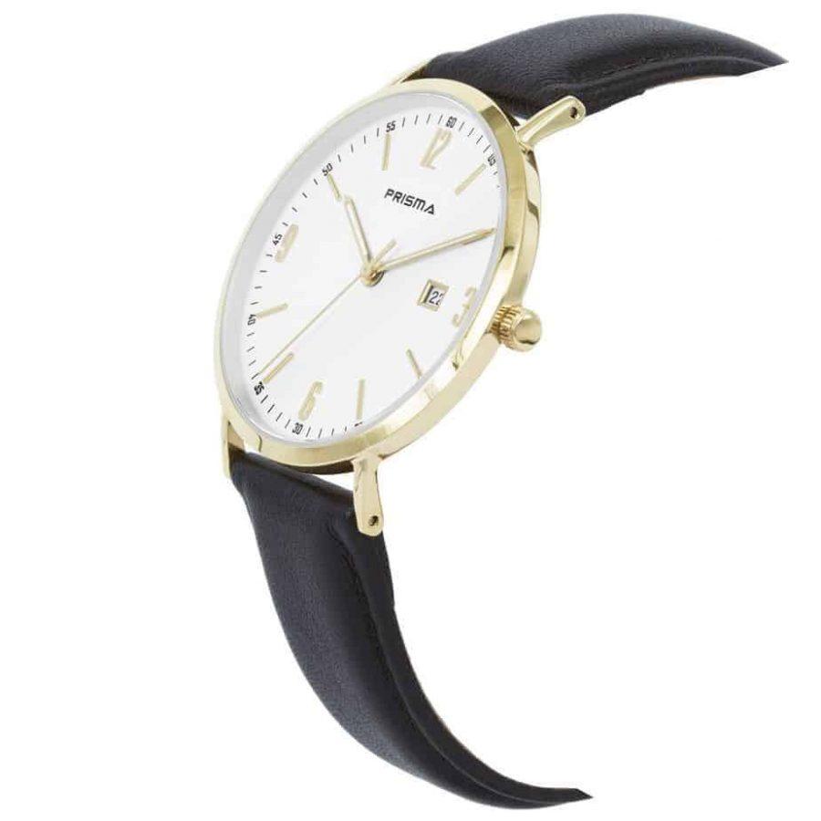 Prisma-P1503-heren-horloge-edelstaal-zilver-bruin-lederen-band-schuin