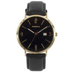 Prisma-P1504-heren-horloge-edelstaal-goud-zwart-lederen-band-l