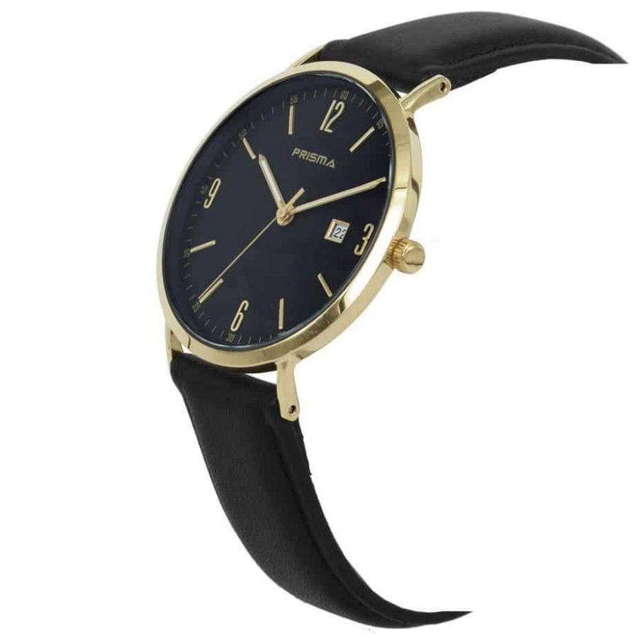Prisma-P1504-heren-horloge-edelstaal-goud-zwart-lederen-band-schuin