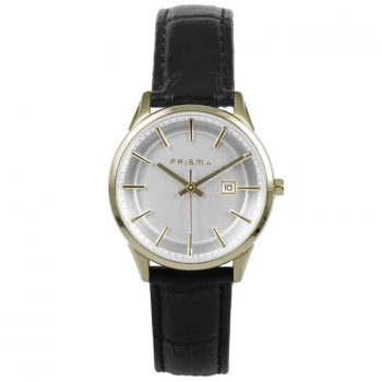 Prisma-P1573-dames-horloges-goud-edelstaal-leer-zwart-l