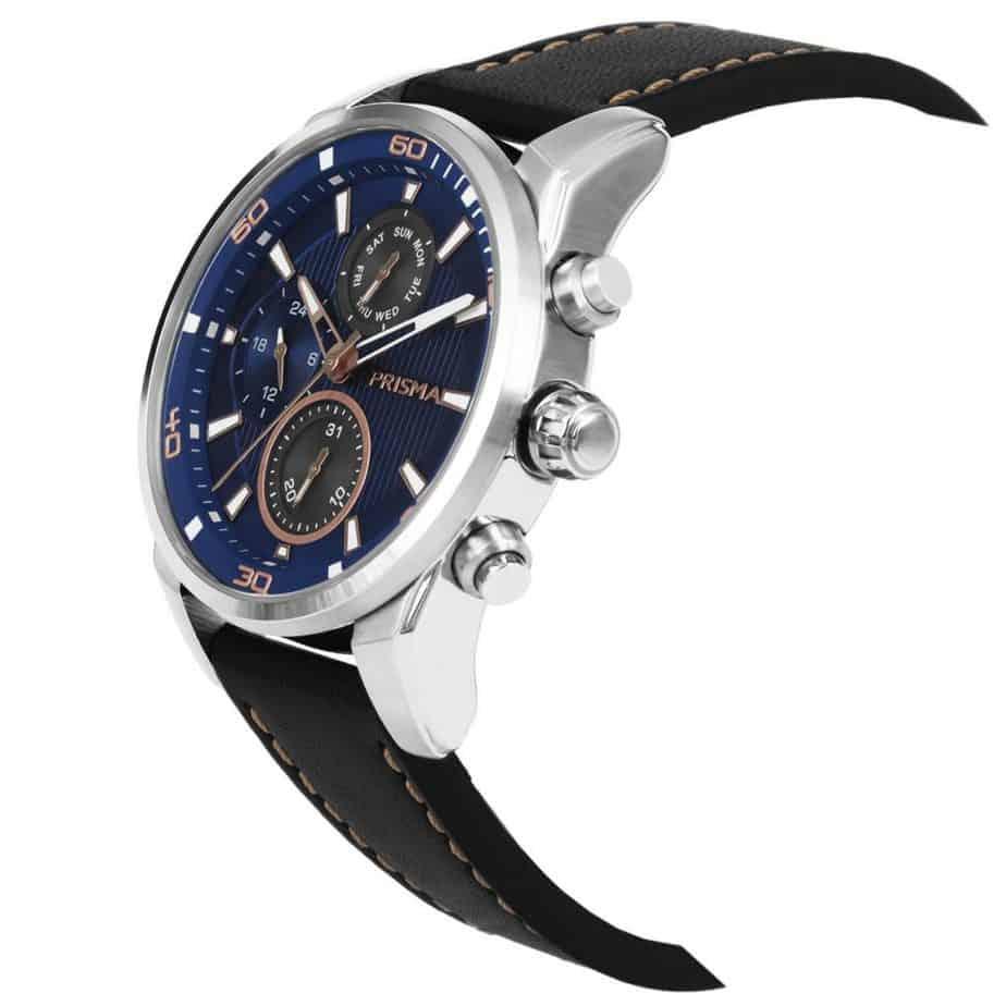 Prisma-P1592-heren-horloge-edelstaal-zwart-rosegoud-schuin-l