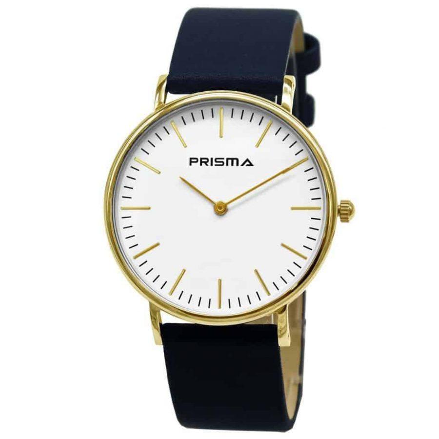 Prisma-P1620-606G-horloges-goud-edelstaal-lederen-blauw-l