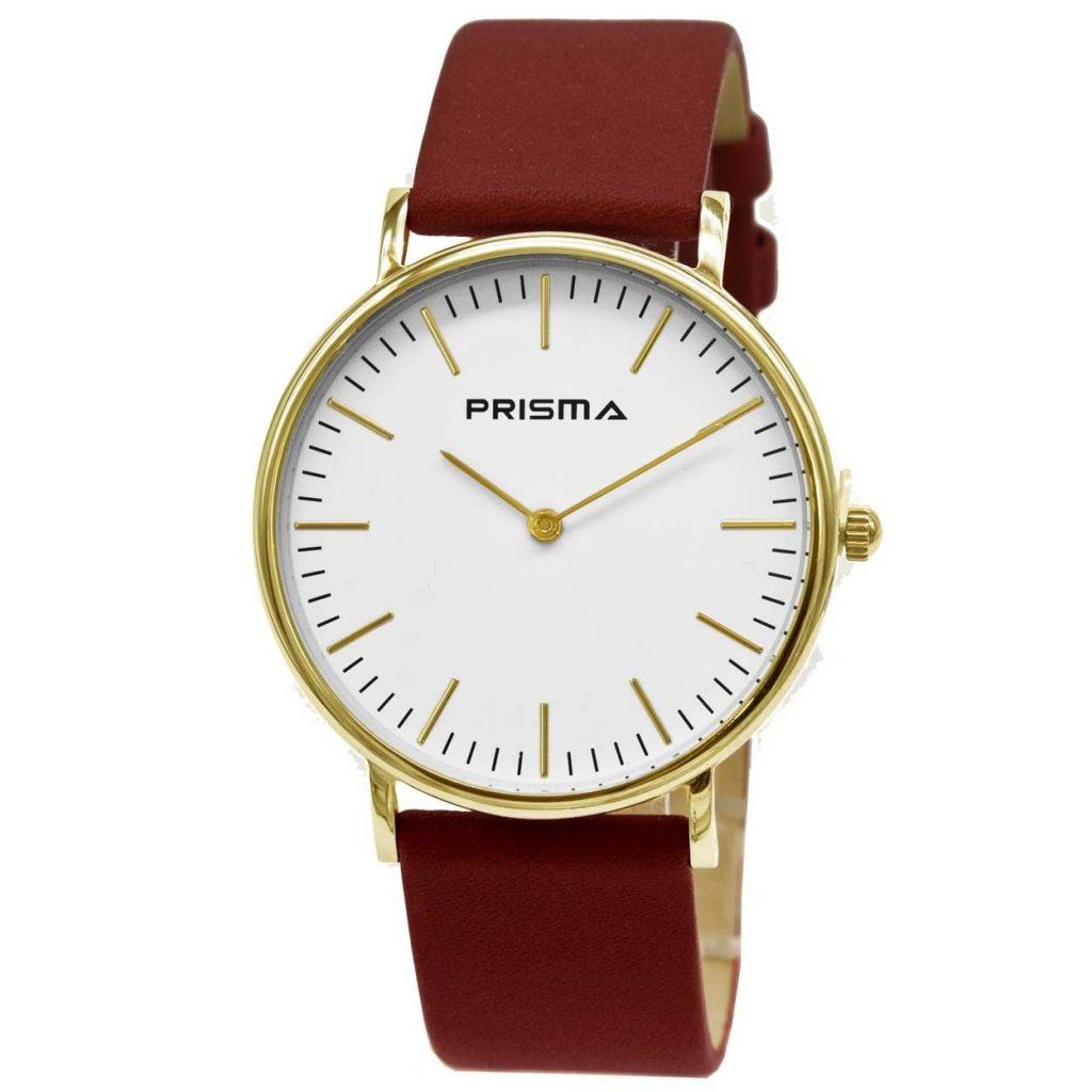 Prisma-P1620-701G-horloges-edelstaal-goud-lederen-rood-l