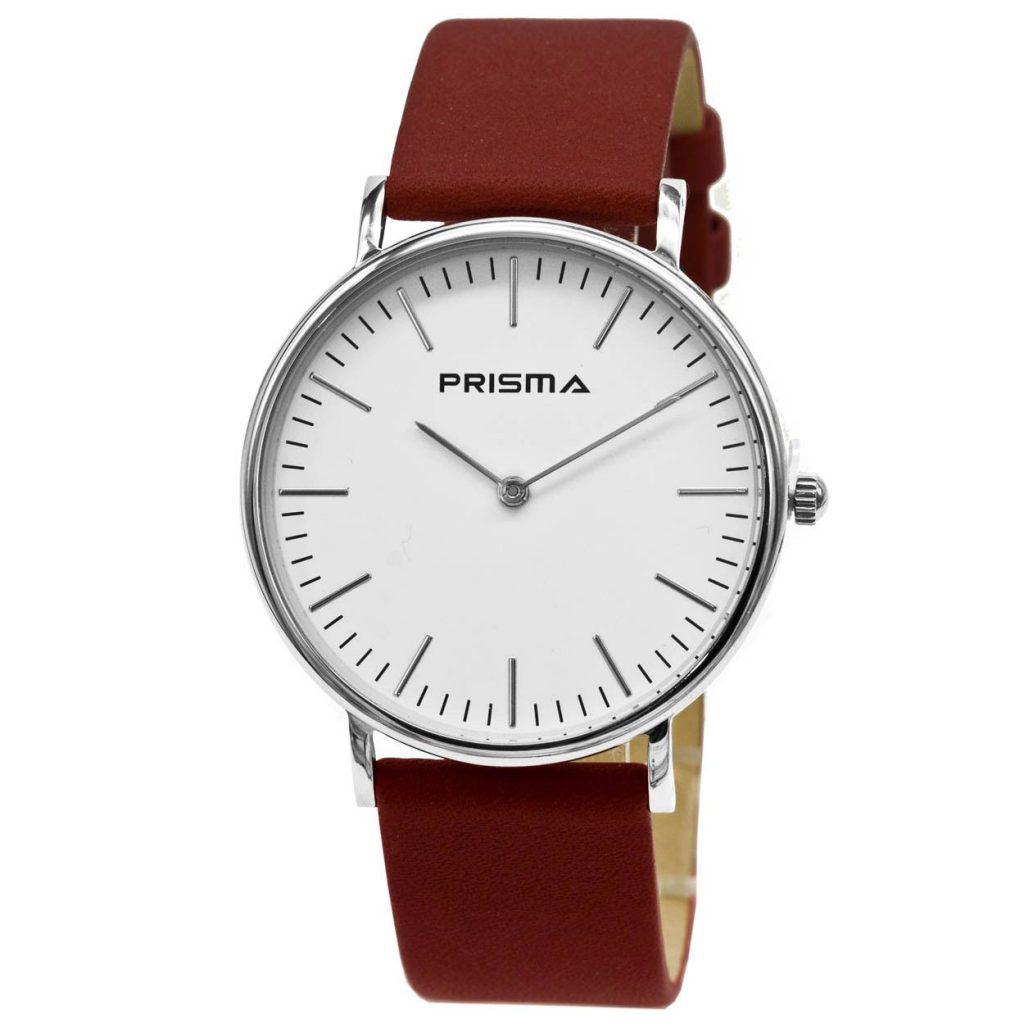 Prisma-P1623-701G-horloges-edelstaal-rood-leder-l
