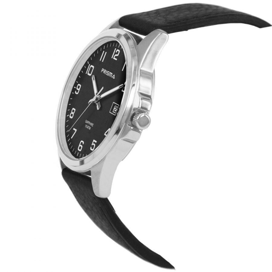 Prisma-P1724-129G-heren-horloge-titanium-saffierglas-leder-schuin