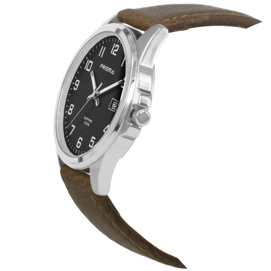 Prisma-P1724-329G-heren-horloge-titanium-saffierglas-leder-schuin