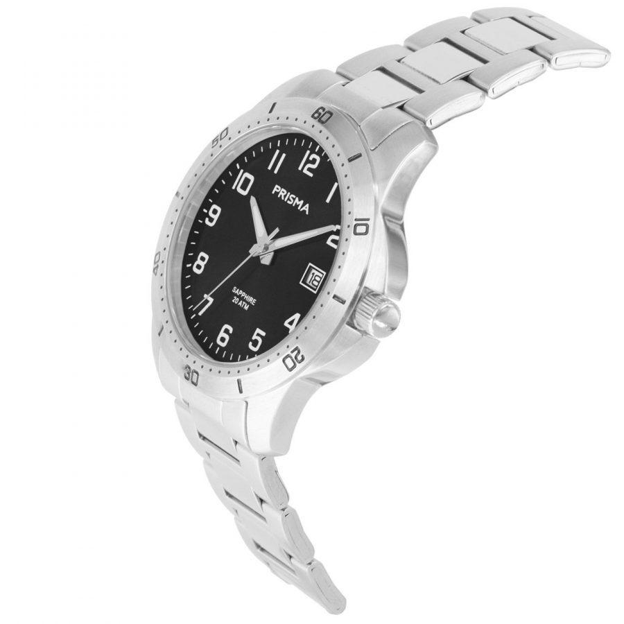 Prisma-P1737-horloges-heren-edelstaal-saffier-zwart-datum-schuin