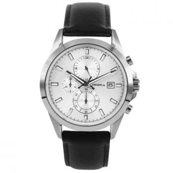 Prisma-P1791-horloges-heren-edelstaal-chronograaf-saffier-leder-l