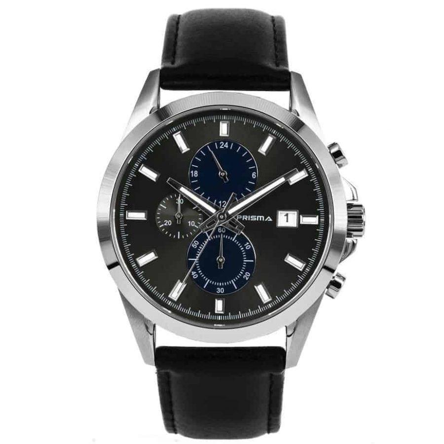 Prisma-P1793-horloges-heren-chronograaf-edelstaal-blauw-zwart-leder-l