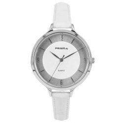 Prisma-P8390-dames-horloge-leer-staal-wit-zilver-l