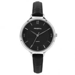 Prisma-P8391-dames-horloge-leer-staal-zwart-zilver-l