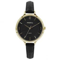 Prisma-P8393-dames-horloge-leer-staal-zwart-goud-l