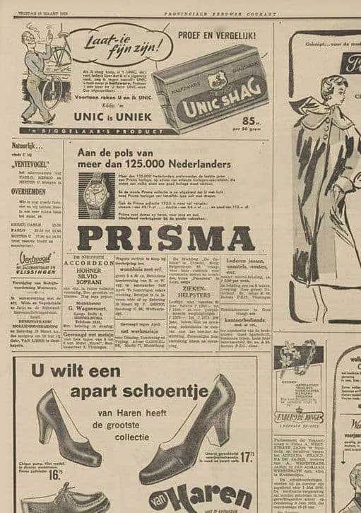 Prisma horloges watches advertentie promotion 1955