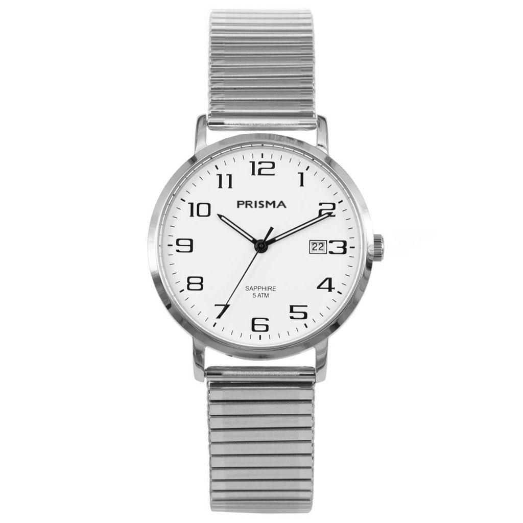Prisma-P1750-horloges-heren-edelstaal-rekband-datum-saffier