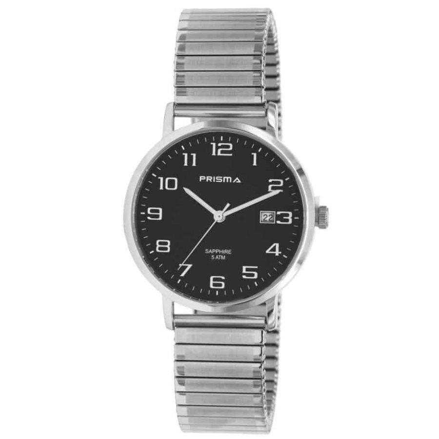 Prisma-P1752-horloges-heren-edelstaal-rekband-datum-saffier-l