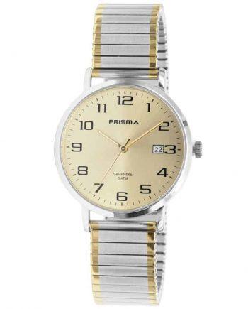 Prisma-P1753-horloges-heren-edelstaal-bicolor-rekband-datum-saffier-l