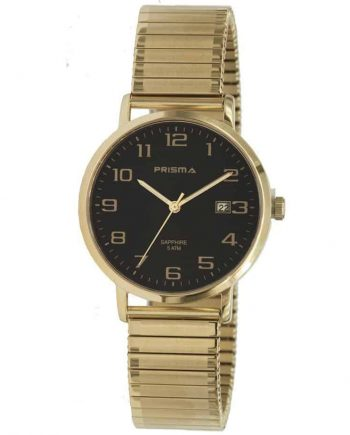 Prisma-P1755-horloges-heren-edelstaal-goud-rekband-datum-saffier-l