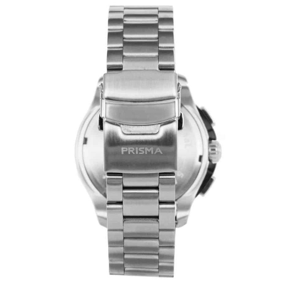 Prisma P1640 heren horloge multi functie edelstaal achterkant