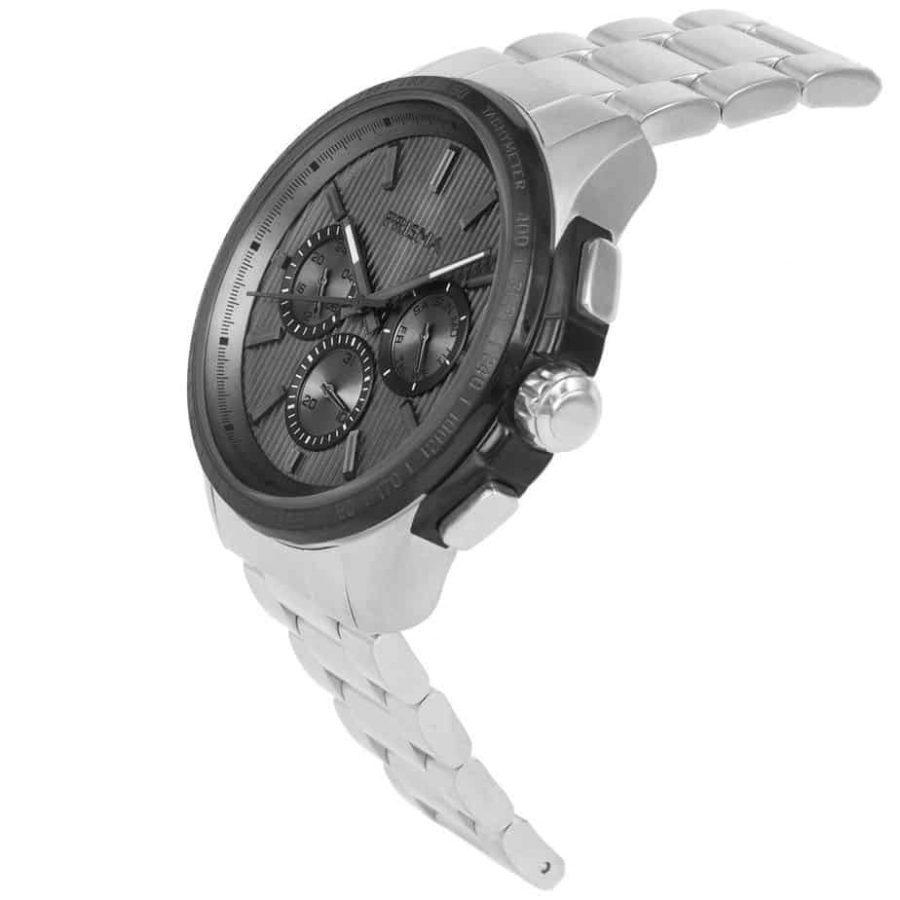 Prisma P1640 heren horloge multi functie edelstaal schuin