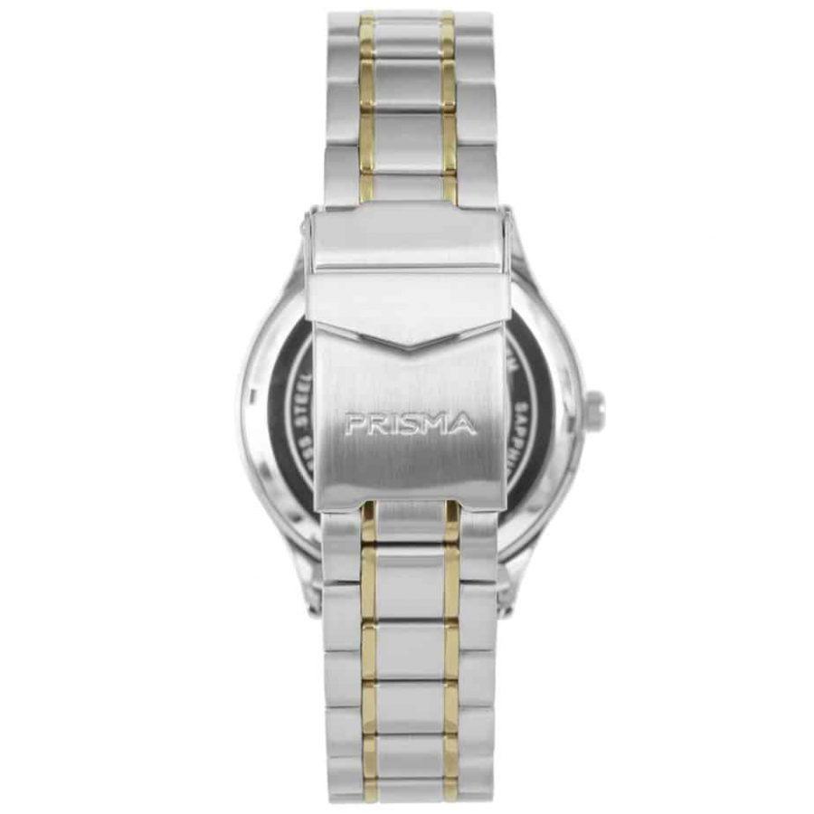 Prisma-P1653-heren-horloge-edelstaal-bicolor-achterkant