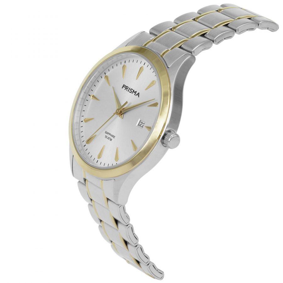 Prisma-P1653-heren-horloge-edelstaal-bicolor-schuin