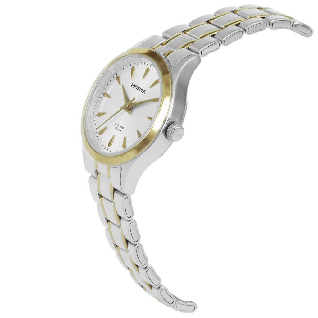 Prisma-P1658-dames-horloges-edelstaal-bicolor-schuin