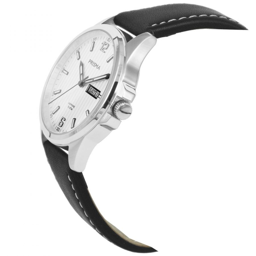 Prisma-P1660-heren-horloge-edelstaal-leer-schuin