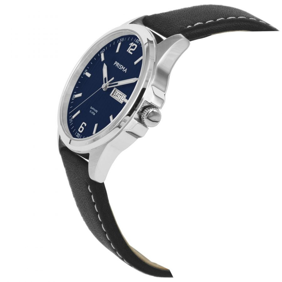 Prisma-P1661-heren-horloge-edelstaal-leer-schuin