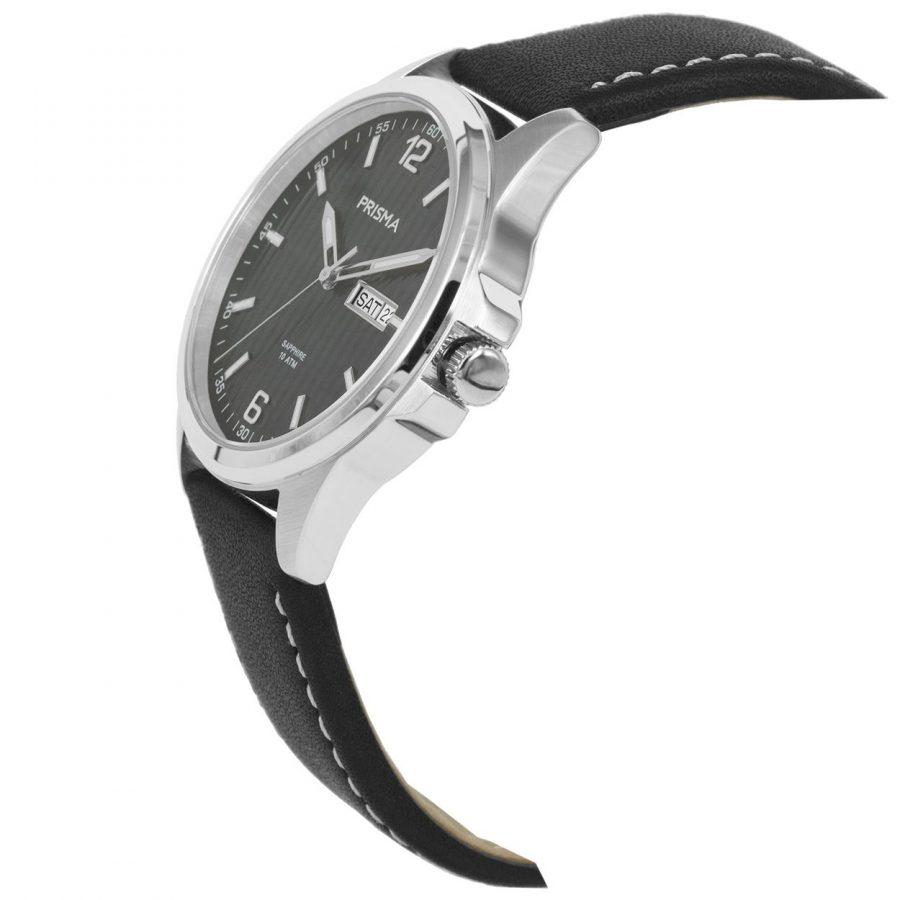 Prisma-P1662-heren-horloge-edelstaal-leer-schuin