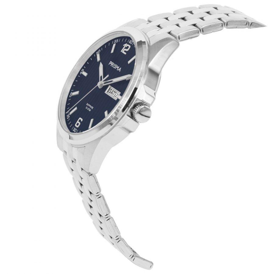Prisma-P1664-heren-horloge-edelstaal-saffier-schuin