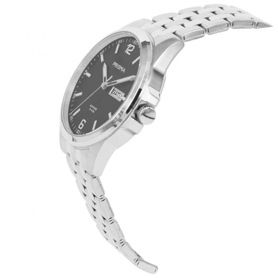 Prisma-P1665-heren-horloge-edelstaal-saffier-schuin