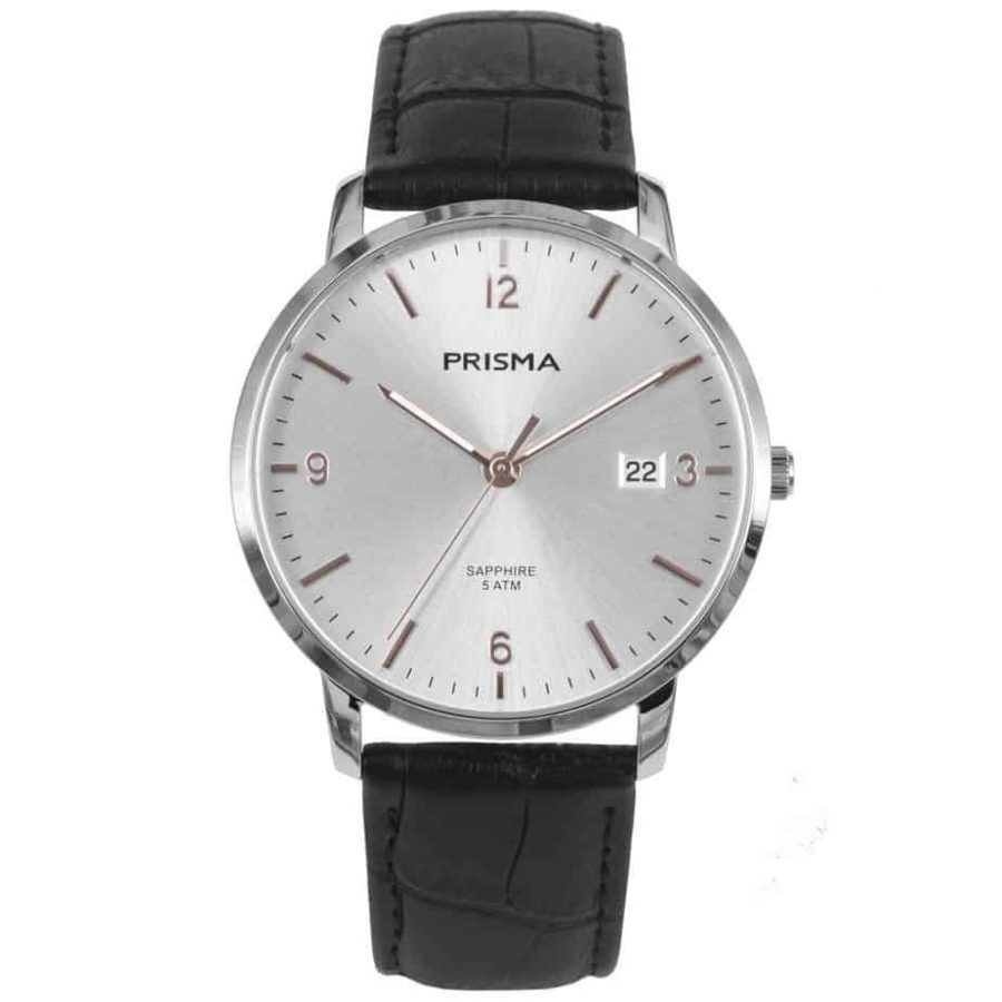 PRISMA 1647 Sun Ray P1647 HEREN HORLOGE EDELSTAAL ROSEGOUD MEN WATCH