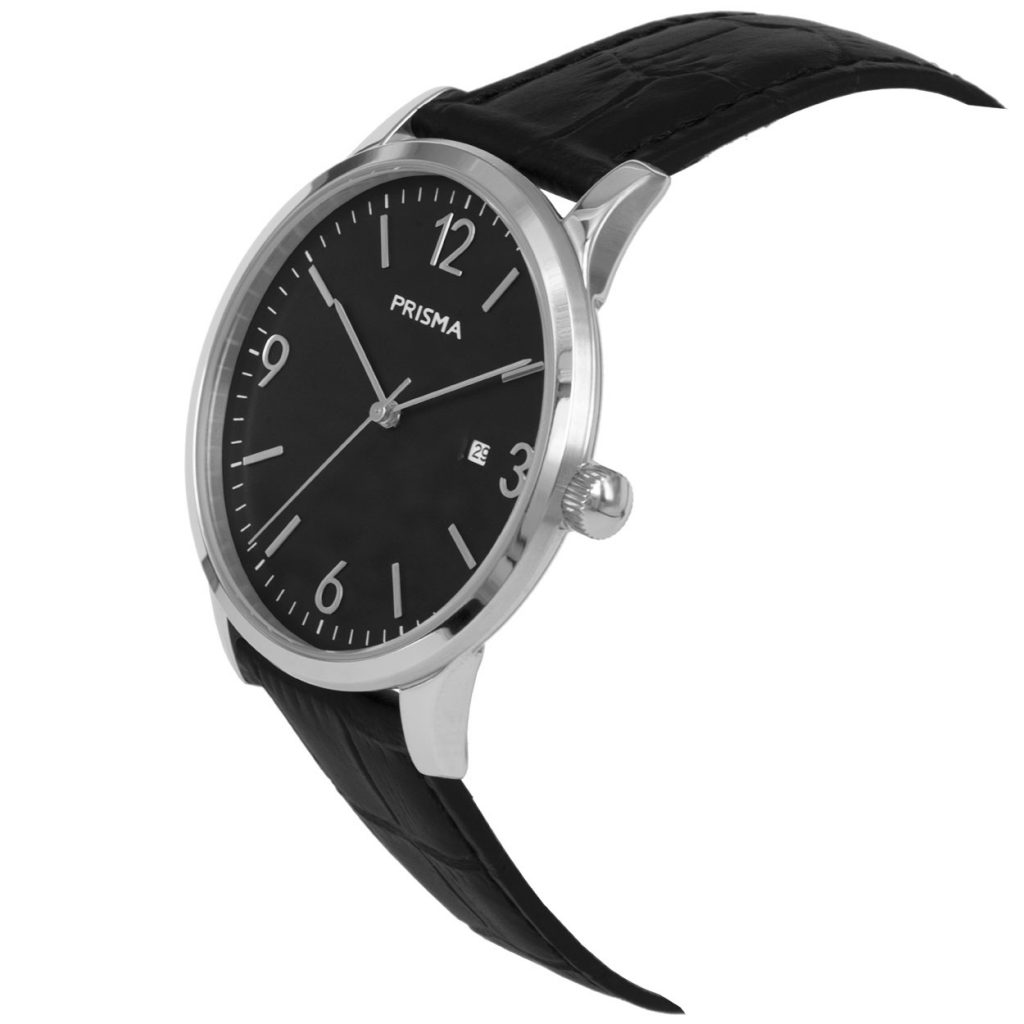 Prisma P1630 heren horloge zwart edelstaal carbon schuin