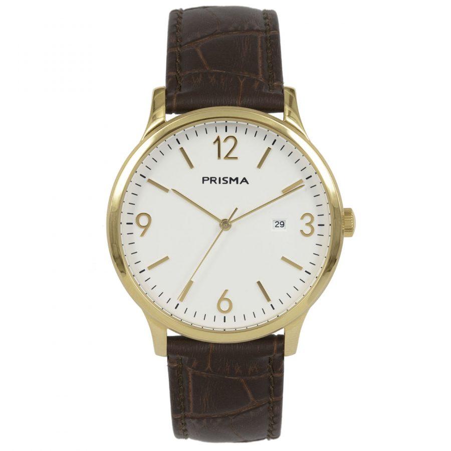Prisma P1633 heren horloge goud edelstaal carbon