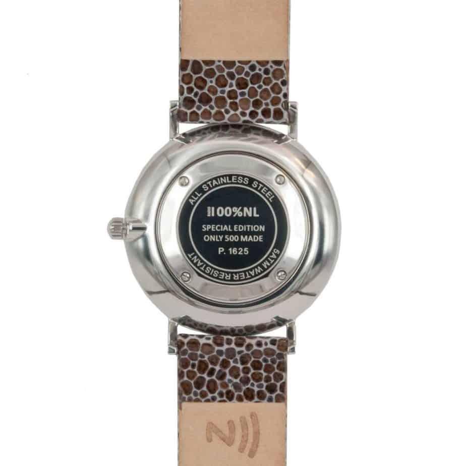 prisma 100%NL horloge bruin prisma horloges special edition P1625-436G Prisma 100NL bruin horloge online kopen achterkant