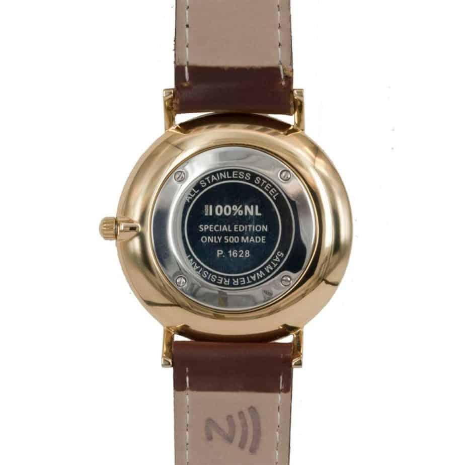 prisma Radio 100%NL horloge bruin prisma horloges special edition P1628-418G Prisma 100NL bruin horloge online kopen achterkant