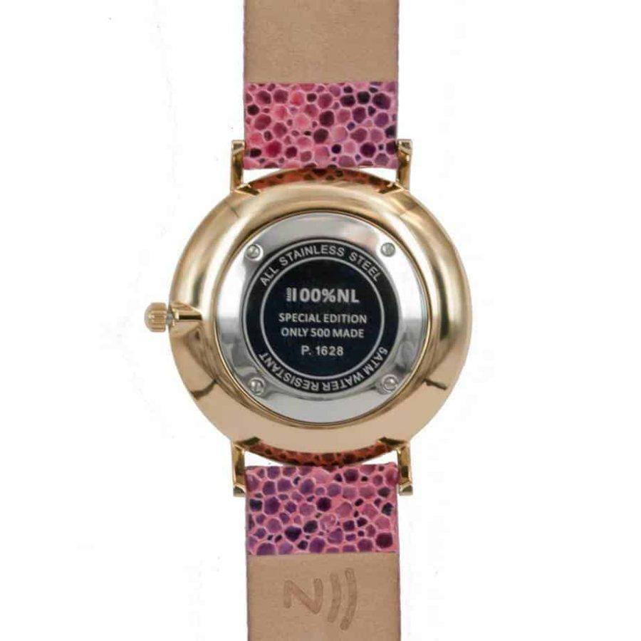 prisma 100%NL horloge pink prisma horloges special edition P1628-736G Prisma 100NL roze horloge online kopen achterkant