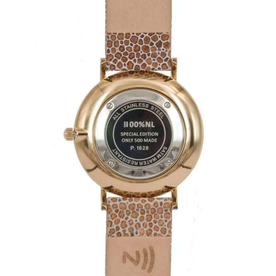 prisma 100%NL horloge beige prisma horloges special edition P1628-856G Prisma 100NL horloge online kopen achterkant